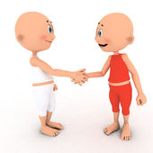 Little toons handshake — Stock Photo