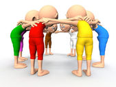 Team spirit, business debate. 3d little humans — Foto de Stock