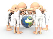 Team spirit, debate about the Earth — Stock Photo