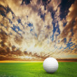 Playing golf. Ball on golf field at sunset — Stock Photo