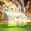 New house vision, project on field at sunset - Stock Photo
