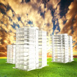 New blocks of flats project on field at sunset - Stock Photo