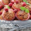 Muffins with raspberries — Stock Photo