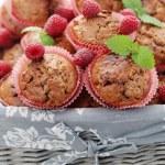 Muffins with raspberries — Stock Photo