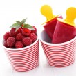 Raspberry ice creams - Stock Photo