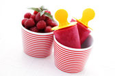 Raspberry ice creams — Stock Photo