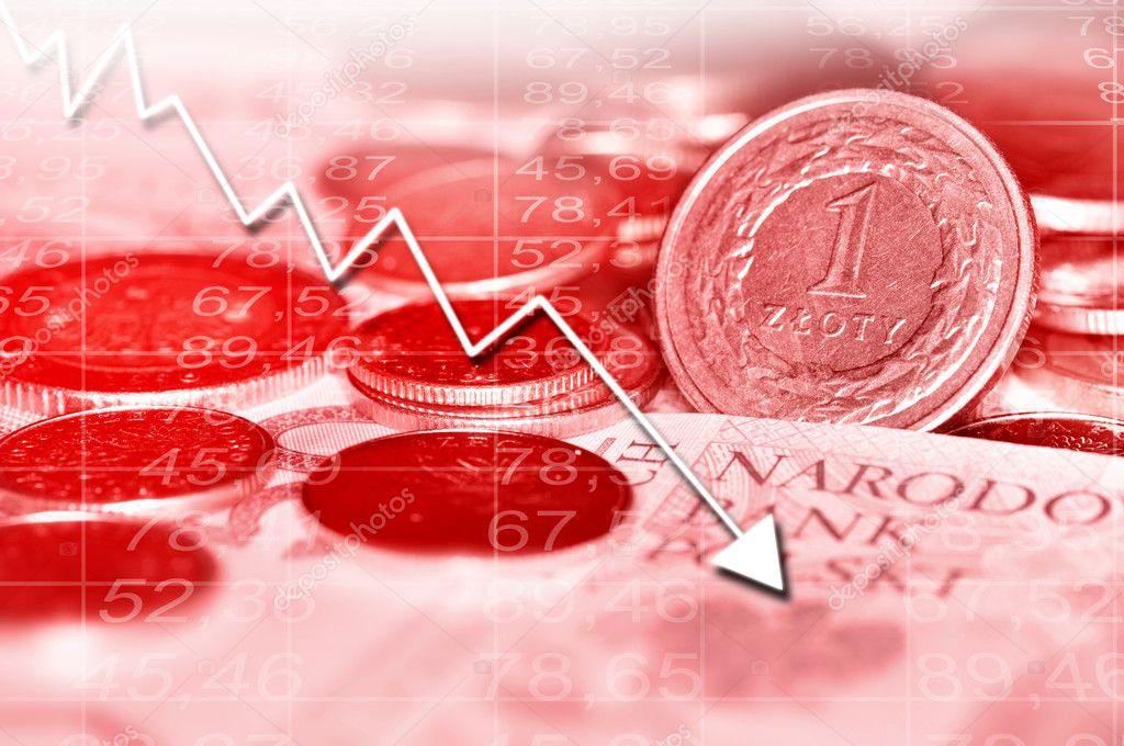 Arrow graph going down and polish currency in background. All in red color. — Stock Photo #8432075