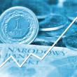 Arrow graph going up and polish currency in background — Stock Photo #8501834