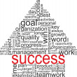 Success concept related words in tag cloud isolated on white. Arrow with different association terms. — Stock Vector
