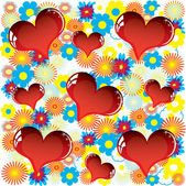Valentine love card with heart of flowers — Stock Vector