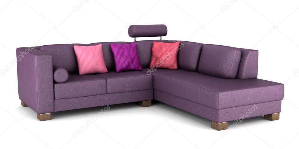 Divano moderno in pelle viola con cuscini isolato su for Divano viola
