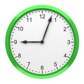Green round wall clock isolated on white background — Stock Photo
