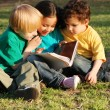 Stock Photo: Group of children with the book on a grass in park