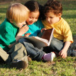 Group of children with the book on a grass in park — Stock Photo