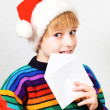 Little boy sending a letter to Santa Claus — Stock Photo