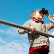 Young boy with binoculars — Stock Photo