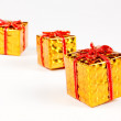 Box gift golden on white background — Stock Photo