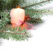 Branch of Christmas tree with candle and  pinecone - Stock Photo