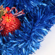 Stock Photo: Christmas balls with abstract blue background