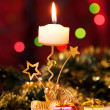 Stock Photo: Christmas candle and gift boxes.