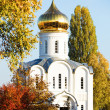 White church surrounded by golden trees — Stock Photo