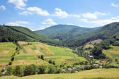 Summer landscape in mountains and the blue sky with clouds — Стоковое фото