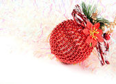 Christmas balls with abstract lights background — Stock Photo