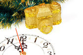 Decoration with a clock and gold camera — Stockfoto