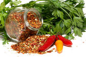 Dry seasoning with chillies and parsley — Stock Photo