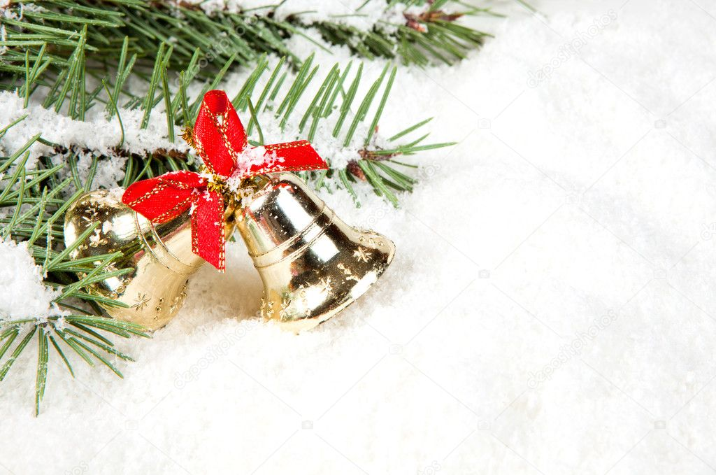 Branch of Christmas tree with bells golden — Foto Stock #8135488
