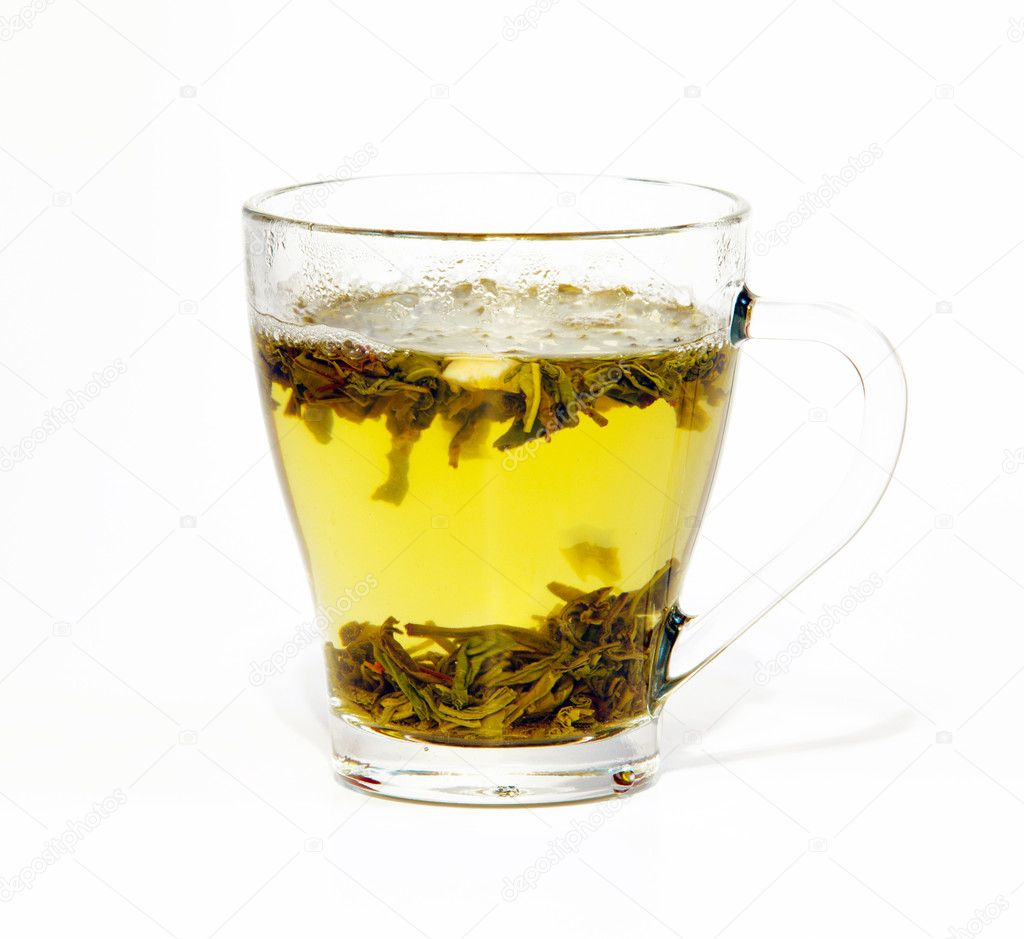 Green tea in glass cup isolated on white — Stock Photo #8135589