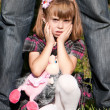 Stock Photo: Portrait of the crying little girl in park