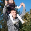 Portrait father and daughter against sky — Stock Photo
