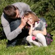 Portrait of  little girl with the father in park — Stock Photo