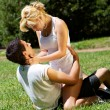 Portrait of loving couple against the nature — Stock Photo #9499472