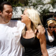 Group of young boys and girls going along street — Stock Photo #9500675
