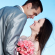 Happy bride and groom on their wedding day — Stock Photo