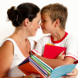 Stock Photo: Mother with the son reading the book