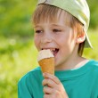 Portrait a young boy eating a tasty ice cream — Stock Photo