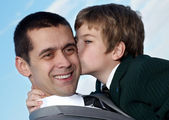 Loving moment between father and son. Portrait — Stock Photo