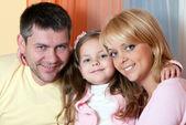 Portrait happy family indoor house — Stock Photo