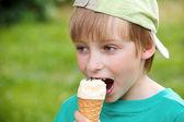 Portrét chlapce jíst chutné zmrzliny — Stock fotografie