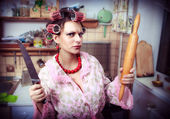 Crazy housewife in an interior of the kitchen — Photo