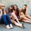 Happy group of friends smiling outdoors — Stock Photo #9518557