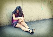 Closeup portrait of depressed teenager girl. — Stock Photo