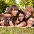Group of girls teenagers in park on grass — Stock Photo