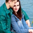 Stock Photo: Young teenage couple outdoor