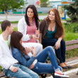 Group of teenagers sitting outside — Stock Photo