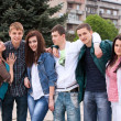 Stock Photo: Teenage group embracing