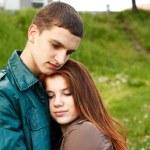 Portrait young teenage couple outdoor — Stock Photo